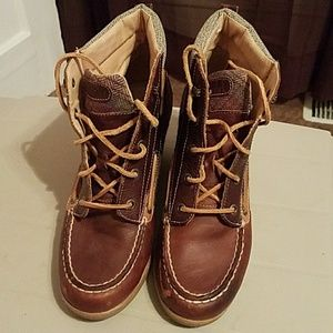 Sperry Leather Wedge Boots